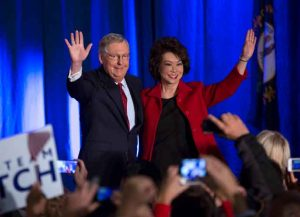 LOUISVILLE, KY - NOVEMBER 4: U.S. Sen. Mitch McConnell (R-KY) celebrates with his wife Elaine Chao at his election night event November 4, 2014 in Louisville, Kentucky. McConnell defeated Kentucky Secretary of State Alison Lundergan Grimes. (Photo by Aaron P. Bernstein/Getty Images)
