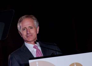 WASHINGTON, DC - APRIL 13: Bob Corker speaks during the 10th annual GRAMMYs on the Hill Awards at The Liaison Capitol Hill Hotel on April 13, 2011 in Washington, DC. (Photo by Kris Connor/Getty Images)