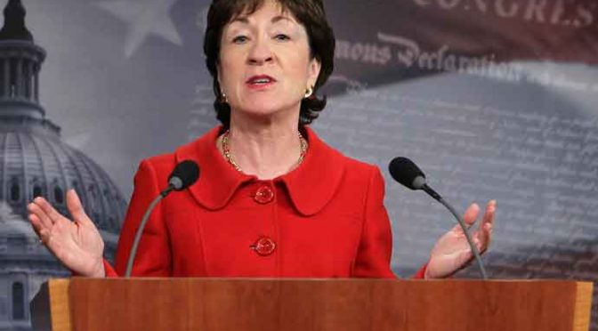 WASHINGTON, DC - FEBRUARY 01: U.S. Sen. Susan Collins (R-ME) speaks during a news conference on Capitol Hill February 1, 2011 in Washington, DC. Sen. Joseph Lieberman (I-CT) and Collins discussed the release of a report that says that less than one percent of the 4,000-mile U.S.-Canada border is monitored by U.S. border officials. (Photo by Alex Wong/Getty Images)