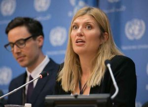 NEW YORK, NY - OCTOBER 9: ICAN Asia-Pacific Director Tim Wright, left, looks on as ICAN Executive Director Beatrice Fihn addresses media during a press conference by the International Campaign to Abolish Nuclear Weapons (ICAN) at the United Nations on October 9, 2017 in New York City. The organization won the Nobel Peace Prize for its work to abolish weapons of mass destruction. (Photo by Kevin Hagen/Getty Images)