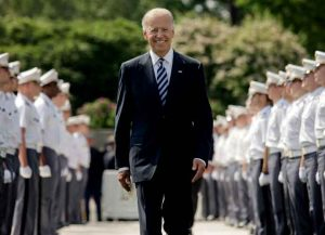 WEST POINT, NY - MAY 26: U.S. Vice President Joe Biden makes his way down a row of cadets as he arrives to address to graduates of The United States Military Academy at West Point May 26, 2012 in West Point, New York. Approximately 1,000 members of the Class of 2012 will receive Bachelor of Science degrees and be commissioned as second lieutenants in the US Army. (Photo: Getty Images)