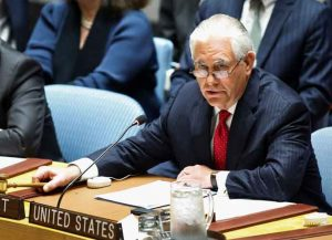 NEW YORK, NY - APRIL 28: US Secretary of State Rex Tillerson speaks to members of the security council during a meeting on nonproliferation of North Korea on April 28, 2017 in New York City. The growing threat of a nuclear North Korea is going to be the focus for Secretary of State Rex Tillerson while he chairs a special meeting of the United Nations Security Council.