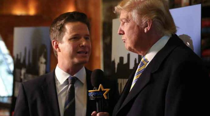 NEW YORK, NY - JANUARY 20: Donald Trump (R) is interviewed by Billy Bush of Access Hollywood at 'Celebrity Apprentice' Red Carpet Event at Trump Tower on January 20, 2015 in New York City. (Photo by Rob Kim/Getty Images)