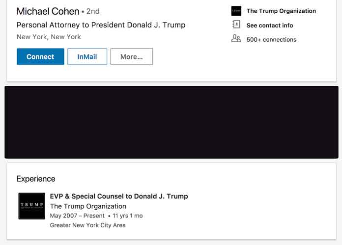 Michael Cohen Still Lists Trump As Only Employer On LinkedIn, Calls Himself 'Personal Attorney' To The President