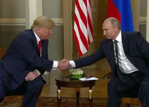 Trump and Putin meet in Helsinki, Finland on July 16, 2018 (Image: Wikimedia)