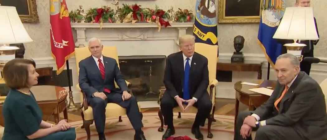 Trump Fights With Pelosi & Schumer On Camera, Vows To Shut Down Government If Border Wall Is Not Funded