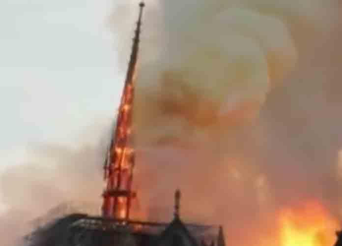 Fire Engulfs Notre Dame Cathedral In Paris, Spire Falls