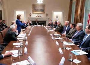 Nancy Pelosi meets with Trump, White House and Democratic officials to discuss withdrawal of U.S. troops from Syria (Photo: Twitter)