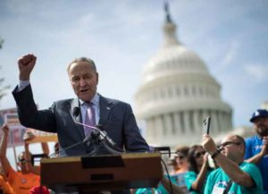 WASHINGTON, DC - SEPTEMBER 26: Senate Minority Leader Chuck Schumer (D-NY) speaks during a news conference in opposition to the Graham-Cassidy health care bill, September 26, 2017 in Washington, DC (Image: Getty)