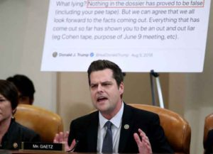 WASHINGTON, DC - DECEMBER 09: Rep. Matt Gaetz (R-FL) questions Democratic Counsel Daniel Goldman in an impeachment hearing before the House Judiciary Committee in the Longworth House Office Building on Capitol Hill December 9, 2019 in Washington, DC. (Image: Getty)