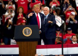 HERSHEY, PA - DECEMBER 10: U.S. President Donald Trump gestures with US Vice President Mike Pence during a campaign rally on December 10, 2019 in Hershey, Pennsylvania. This rally marks the third time President Trump has held a campaign rally at Giant Center. The attendance of both President and Vice President signifies the importance Pennsylvania holds as a key battleground state. (Image: Getty)
