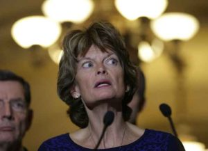 WASHINGTON, DC - JANUARY 27: Sen. Lisa Murkowski (R-AK) speaks to reporters outside the Senate chamber following a luncheon for Republican members of the Senate January 27, 2015 in Washington, DC. Murkowski commented on U.S. President Barack Obama's plan to protect millions of acres of the Arctic National Wildlife Refuge.