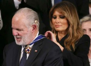 WASHINGTON, DC - FEBRUARY 04: Radio personality Rush Limbaugh reacts as First Lady Melania Trump gives him the Presidential Medal of Freedom during the State of the Union address in the chamber of the U.S. House of Representatives on February 04, 2020 in Washington, DC. (Photo: Getty)