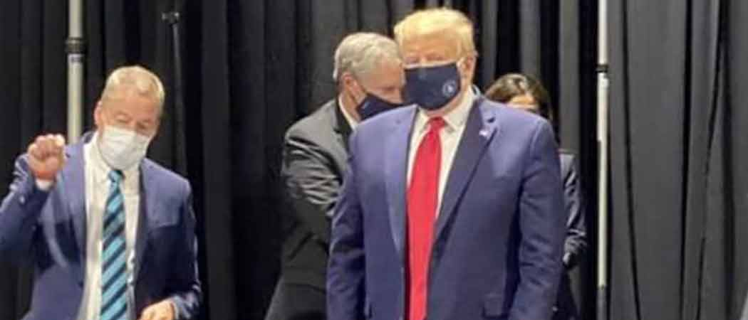 Trump Wore Face Mask With Presidential Seal For Part Of Ford Plant Tour, Then Removed It