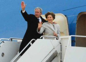 George & Laura Bush board Air Force One (Image: Getty)