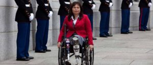 WASHINGTON - MARCH 11: L. Tammy Duckworth, Assistant Secretary for Public and Intergovernmental Affairs at the Department of Veterans Affairs, arrives at a World War II Memorial ceremony to pay tribute to World War II veterans of the Pacific on March 11, 2010 in Washington, DC.