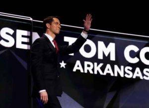CLEVELAND, OH - JULY 18: Sen. Tom Cotton (R-AR) walks on stage to deliver a speech on the first day of the Republican National Convention on July 18, 2016 at the Quicken Loans Arena in Cleveland, Ohio. An estimated 50,000 people are expected in Cleveland, including hundreds of protesters and members of the media. The four-day Republican National Convention kicks off on July 18.