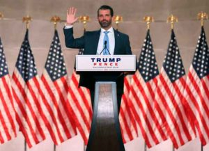 WASHINGTON, DC - AUGUST 24: Donald Trump Jr. pre-records his address to the Republican National Convention at the Mellon Auditorium on August 24, 2020 in Washington, DC. The novel coronavirus pandemic has forced the Republican Party to move away from an in-person convention to a televised format, similar to the Democratic Party's convention a week earlier.