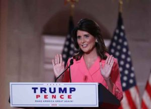 WASHINGTON, DC - AUGUST 24: Former U.S. Ambassador to the United Nations Nikki Haley stands on stage in an empty Mellon Auditorium while addressing the Republican National Convention at the Mellon Auditorium on August 24, 2020 in Washington, DC. The novel coronavirus pandemic has forced the Republican Party to move away from an in-person convention to a televised format, similar to the Democratic Party's convention a week earlier. (Photo: Getty)