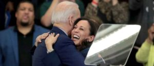 DETROIT, MICHIGAN - MARCH 09: Sen. Kamala Harris (L) (D-CA), hugs Democratic presidential candidate former Vice President Joe Biden after introducing him at a campaign rally at Renaissance High School on March 09, 2020 in Detroit, Michigan. Michigan will hold its primary election tomorrow.