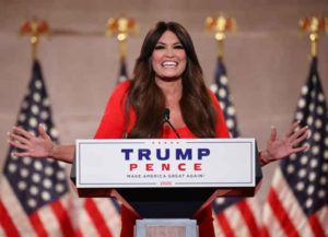 WASHINGTON, DC - AUGUST 24: Kimberly Guilfoyle pre-records her address to the Republican National Convention at the Mellon Auditorium on August 24, 2020 in Washington, DC. The novel coronavirus pandemic has forced the Republican Party to move away from an in-person convention to a televised format, similar to the Democratic Party's convention a week earlier.