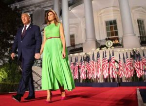 WASHINGTON, DC - AUGUST 27: U.S. President Donald Trump arrives on stage with first lady Melania Trump to deliver his acceptance speech for the Republican presidential nomination on the South Lawn of the White House on August 27, 2020 in Washington, DC. Trump gave the speech in front of 1500 invited guests.