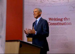 Former President Barack Obama speaks at the 2020 DNC