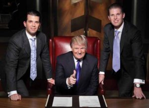 Donald Trump with sons Don Jr. and Eric Trump on the set of 'The Apprentice'