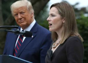 WASHINGTON, DC - SEPTEMBER 26: Seventh U.S. Circuit Court Judge Amy Coney Barrett speaks after U.S. President Donald Trump announced that she will be his nominee to the Supreme Court in the Rose Garden at the White House September 26, 2020 in Washington, DC. With 38 days until the election, Trump tapped Barrett to be his third Supreme Court nominee in just four years and to replace the late Associate Justice Ruth Bader Ginsburg, who will be buried at Arlington National Cemetery on Tuesday.