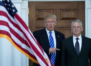 BEDMINSTER TOWNSHIP, NJ - NOVEMBER 19: (L to R) President-elect Donald Trump welcomes retired United States Marine Corps general James Mattis as they pose for a photo before their meeting at Trump International Golf Club, November 19, 2016 in Bedminster Township, New Jersey. Trump and his transition team are in the process of filling cabinet and other high level positions for the new administration.