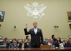 WASHINGTON, DC - FEBRUARY 27: Michael Cohen, former attorney and fixer for President Donald Trump is sworn in before testifying before the House Oversight Committee on Capitol Hill February 27, 2019 in Washington, DC.