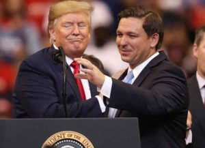 SUNRISE, FLORIDA - NOVEMBER 26: U.S. President Donald Trump introduces Florida Governor Ron DeSantis during a homecoming campaign rally at the BB&T Center on November 26, 2019 in Sunrise, Florida. President Trump continues to campaign for re-election in the 2020 presidential race.