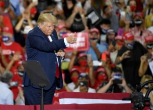 HENDERSON, NEVADA - SEPTEMBER 13: U.S. President Donald Trump gives a thumbs-up after speaking at a campaign event at Xtreme Manufacturing on September 13, 2020 in Henderson, Nevada. Trump's visit comes after Nevada Republicans blamed Democratic Nevada Gov. Steve Sisolak for blocking other events he had planned in the state.