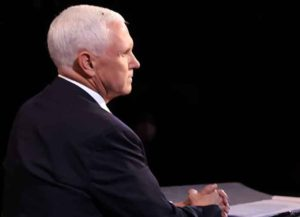 SALT LAKE CITY, UTAH - OCTOBER 07: A fly briefly lands on head of U.S. Vice President Mike Pence during in the vice presidential debate against Democratic vice presidential nominee Sen. Kamala Harris (D-CA) at the University of Utah on October 7, 2020 in Salt Lake City, Utah. The vice presidential candidates only meet once to debate before the general election on November 3.