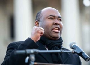 COLUMBIA, SC - JANUARY 20: U.S. senate candidate Jaime Harrison speaks to the crowd during the King Day celebration at the Dome March and rally on January 20, 2020 in Columbia, South Carolina. The event, first held in 2000 in opposition to the display of the Confederate battle flag at the statehouse, attracted more than a handful Democratic presidential candidates to the early primary state.