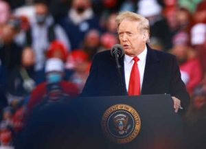 MUSKEGON, MI - OCTOBER 17: U.S. President Donald Trump speaks during a campaign rally on October 17, 2020 in Muskegon, Michigan.President Trump has ramped up his schedule of public events as he continues to campaign against Democratic presidential nominee Joe Biden ahead of the November election.