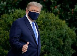 WASHINGTON, DC - OCTOBER 02: U.S. President Donald Trump leaves the White House for Walter Reed National Military Medical Center on the South Lawn of the White House on October 2, 2020 in Washington, DC. President Donald Trump and First Lady Melania Trump have both tested positive for coronavirus.