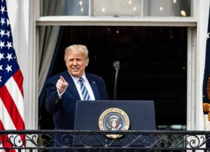WASHINGTON, DC - OCTOBER 10: U.S. President Donald Trump addresses a rally in support of law and order on the South Lawn of the White House on October 10, 2020 in Washington, DC. PresidentTrump invited over two thousand guests to hear him speak just a week after he was hospitalized for COVID-19.