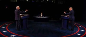 NASHVILLE, TENNESSEE - OCTOBER 22: U.S. President Donald Trump and Democratic presidential nominee Joe Biden participate in the final presidential debate at Belmont University on October 22, 2020 in Nashville, Tennessee. This is the last debate between the two candidates before the November 3 election.