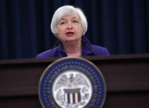 WASHINGTON, DC - DECEMBER 16: Federal Reserve Bank Chair Janet Yellen holds a news conference where she announced that the Fed will raise its benchmark interest rate for the first time since 2008 at the bank's Wilson Conference Center December 16, 2015 in Washington, DC. With unemployment at 5-percent and the economy showing signs of strength, the Fed raised the interest rate a quarter of a percentage point and many experts believe the interest rate on short-term loans could go as high as one percent by the end of 2016.