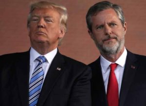 LYNCHBURG, VA - MAY 13: U.S. President Donald Trump (L) and Jerry Falwell (R), President of Liberty University, on stage during a commencement at Liberty University May 13, 2017 in Lynchburg, Virginia. President Trump is the first sitting president to speak at Liberty's commencement since George H.W. Bush spoke in 1990.