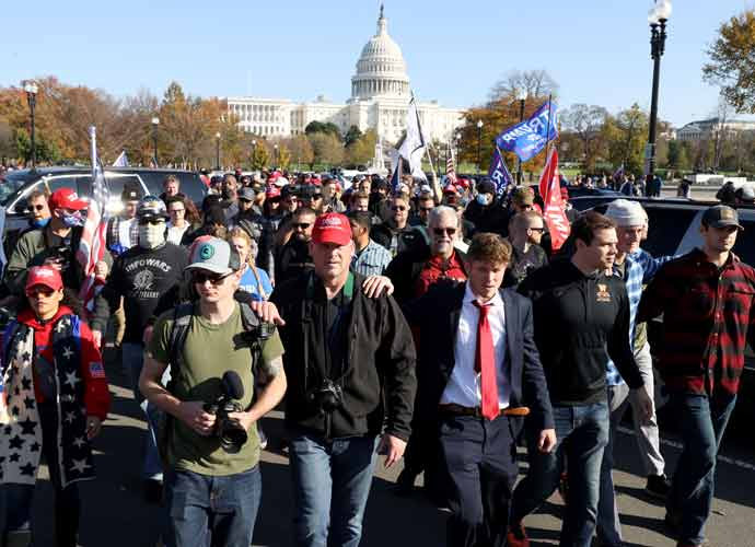 Trump Motorcade Drives By Right-Wing Supporters At 'Million MAGA March' In D.C.