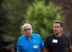 SUN VALLEY, ID - JULY 13: (L to R) Rupert Murdoch, executive chairman of News Corp and chairman of Fox News, and Lachlan Murdoch, co-chairman of 21st Century Fox, walk together as they arrive on the third day of the annual Allen & Company Sun Valley Conference, July 13, 2017 in Sun Valley, Idaho. Every July, some of the world's most wealthy and powerful businesspeople from the media, finance, technology and political spheres converge at the Sun Valley Resort for the exclusive weeklong conference. (Photo: Getty)