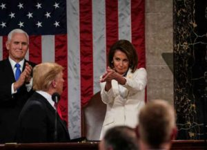 WASHINGTON, DC - FEBRUARY 5: Speaker Nancy Pelosi and Vice President Mike Pence applaud U.S. President Donald Trump at the State of the Union address in the chamber of the U.S. House of Representatives at the U.S. Capitol Building on February 5, 2019 in Washington, DC. President Trump's second State of the Union address was postponed one week due to the partial government shutdown.