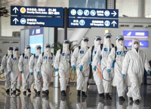 WUHAN, CHINA - APRIL 03: (CHINA OUT)Firefighters prepare to conduct disinfection at the Wuhan Tianhe International Airport on April 3, 2020 in Wuhan, Hubei Province, China. Wuhan, the Chinese city hardest hit by the novel coronavirus outbreak, conducted a disinfection on the local airport as operations will soon resume on April 8 when the city lifts its travel restrictions.