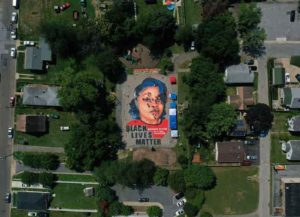ANNAPOLIS, MARYLAND - JULY 05: In an aerial view from a drone, a large-scale ground mural depicting Breonna Taylor with the text 'Black Lives Matter' is seen being painted at Chambers Park on July 5, 2020 in Annapolis, Maryland. The mural was organized by Future History Now in partnership with Banneker-Douglass Museum and The Maryland Commission on African American History and Culture. The painting honors Breonna Taylor, who was shot and killed by members of the Louisville Metro Police Department in March 2020.