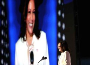 WILMINGTON, DELAWARE - NOVEMBER 07: Vice President-elect Kamala Harris speaks on stage at the Chase Center before President-elect Joe Biden's address to the nation November 07, 2020 in Wilmington, Delaware. After four days of counting the high volume of mail-in ballots in key battleground states due to the coronavirus pandemic, the race was called for Biden after a contentious election battle against incumbent Republican President Donald Trump.