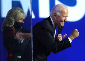 WILMINGTON, DELAWARE - NOVEMBER 07: President-elect Joe Biden greets crowd after his address to the nation from the Chase Center November 07, 2020 in Wilmington, Delaware. After four days of counting the high volume of mail-in ballots in key battleground states due to the coronavirus pandemic, the race was called for Biden after a contentious election battle against incumbent Republican President Donald Trump. (Photo: Getty)