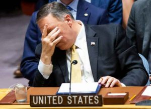 NEW YORK, NY - AUGUST 20: U.S. Secretary of State Mike Pompeo attends a Security Council meeting at the United Nations on August 20, 2019 in New York City. Prior to the meeting on the Middle East, Pompeo acknowledged that ISIS has gained ground in some areas. (Image: Getty)