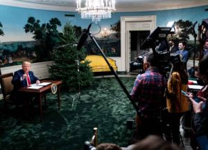 WASHINGTON, DC - NOVEMBER 26: President Donald Trump speaks in the Diplomatic Room of the White House on Thanksgiving on November 26, 2020 in Washington, DC. Trump had earlier made the traditional call to members of the military stationed abroad through video teleconference.
